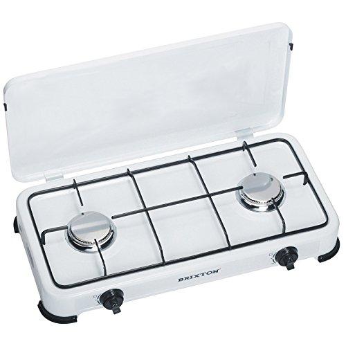 Preisvergleich Produktbild Gaskocher 2-flammig (50 mbar) schwarze Emaille-Brenner, ideal für die Campingküche oder Outdoorküche
