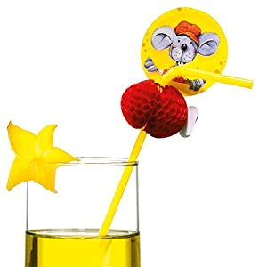 Susy tarjeta 11363637 - pajitas de beber, Ratón, 10 piezas, amarillo
