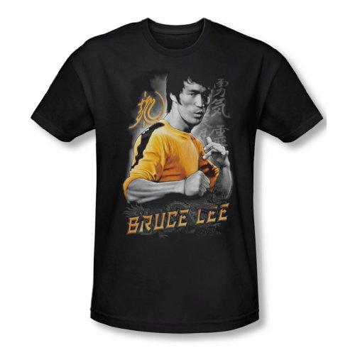 Bruce Lee–Dragon Jaune slim fit T-shirt pour homme Noir Noir
