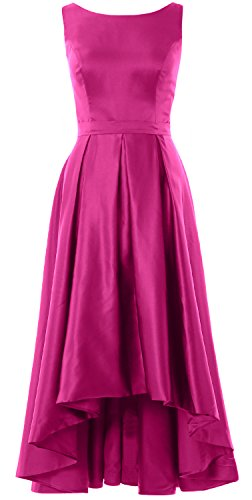 MACloth Elegant Bateau Neck High Low Cocktail Dress Wedding Party Formal Gown Fuchsia