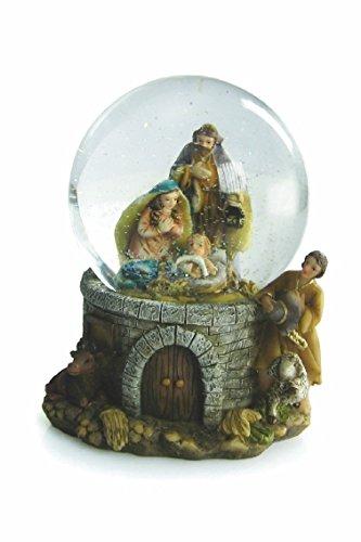 Galileo casa palla di natale con presepe e fiocchi di neve
