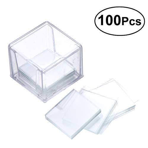 Hemobllo 100Stück Blanko Mikroskop Abdeckung eckig Glas für Optische Mikroskop - Mit Objektträger Abdeckungen