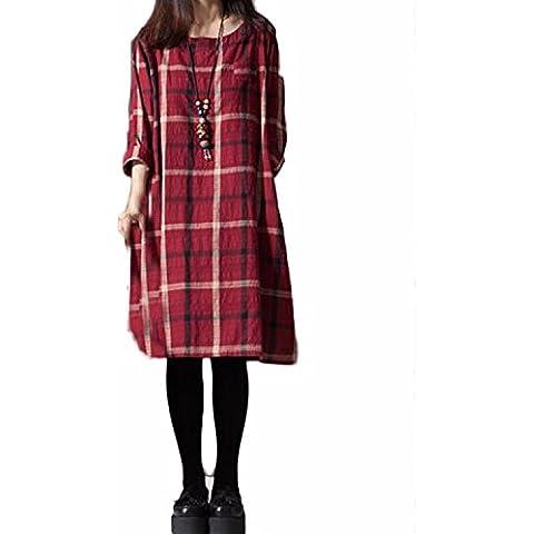 ZANZEA Vestido de Cuadros de La Tela Escocesa Flojo De Las Mujeres Manga Larga Casual