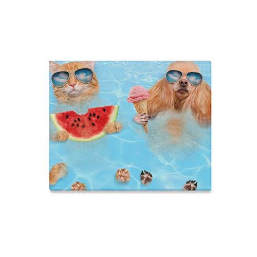 JOCHUAN Wandkunst Malerei Katze Hund Tragen Sonnenbrillen Entspannen Meer Drucke Auf Leinwand Das Bild Landschaft Bilder Öl Für Zuhause Moderne Dekoration Druck Dekor Für Wohnzimmer