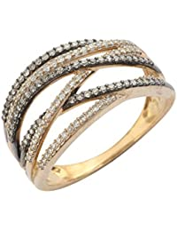 Pave Prive 9ct White Gold with Black and White Diamonds Wave Cross Ring