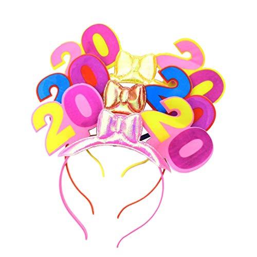 Leuchtendes Kostüm Zeichen - Amosfun Frohes neues Jahr Stirnband Tiara New Years Party Favors 2020 Neujahr Stirnband Flash-LED leuchten leuchtende Haarschmuck Party Headwear zufällige Farbe 3 STK