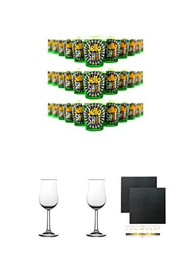 Jello Shot Waldmeister Wackelpudding mit Wodka 42 Gramm x 30 Stück + 2 Bugatti Nosing Gläser mit Eichstrich 2cl und 4cl + 2 Schiefer Glasuntersetzer eckig ca. 9,5 cm Ø