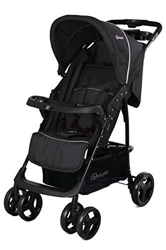 BabyGO 6303 Basket Buggy Sport Kinderwagen mit voller Liegefunktion optional 2in1, schwarz