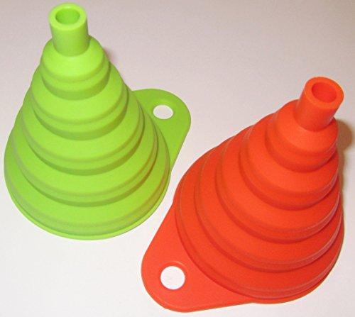 Silikon Falttrichter 4 Farben 1 Trichter Set = 2 Stück der Kleine ist 8cm flexibel und platzsparend verstaubar für Küche & Heimwerken (Orange / Grün) - 2