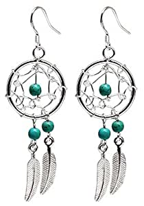 Hand made Silver Dream catcher Earrings with genuine turquoise stones. Beautifully designed and hand finished to a very high jewelry standard. Packed in a lovely velvet pouchette