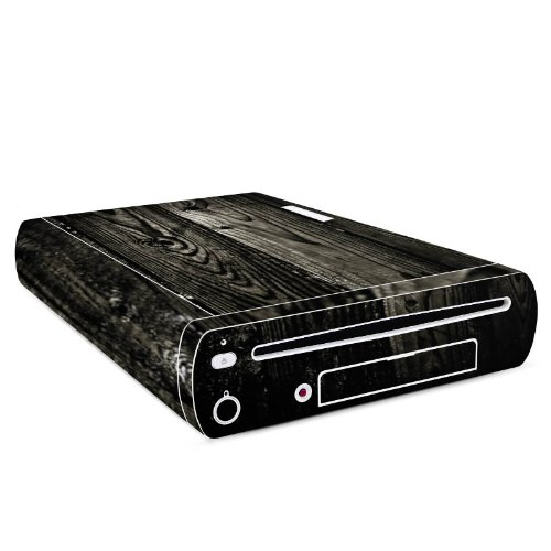 Nintendo Wii U Konsole Case Skin Sticker aus Vinyl-Folie Aufkleber Ebenholz Look Holz Schwarz Holzwand