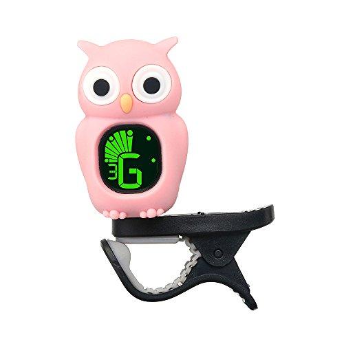 Muslady Clip-On Tuner Cute Cartoon Owl LCD Anzeige für Gitarre Chromatisch Bass Ukulele Geige Rosa