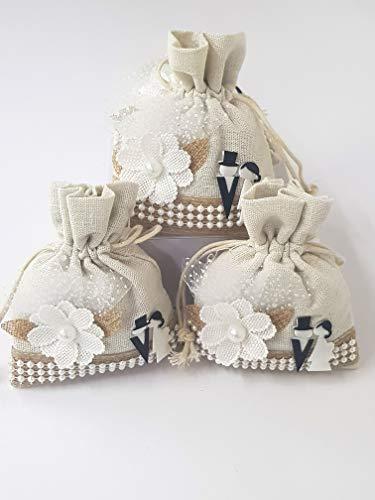 Takestop® set 12 pezzi sacchetti sacchetto bianco fiore sposi 10x13cm bomboniera bomboniere confetti portaconfetti matrimonio promessa