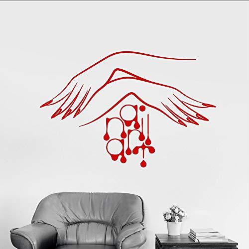 Wuyyii 37X57 Cm Vinyl Wandtattoo Nail Studio Maniküre Logo Frauen Hände Aufkleber Schönheitssalon Wandtattoos Für Nägel Schaufenster DecorB