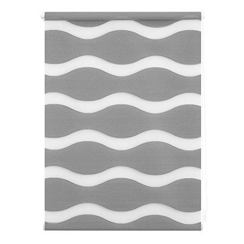 Lichtblick Duo-Rollo Welle Klemmfix, 45 cm x 150 cm (B x L) in Grau, ohne Bohren, Doppelrollo mit Jalousie-Funktion, dekorativer Sonnen- & Sichtschutz, für Fenster & Türen