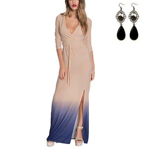 M-Queen Robe Maxi Femme été Plage Sexy Col V Maxi Bohême Mode Chic Robe Manche Longue Dress Pour Cocktail Soirée Beige