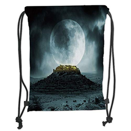 Fashion Printed Drawstring Backpacks Bags,Night Sky,Big Full Moon over a Fantasy Castle on Hill Clouds Rocks Valley View,Green Black Slate Blue Soft Satin,5 Liter Capacity,Adjustable String Closur