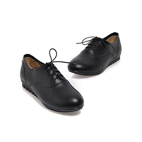 VogueZone009 Femme à Talon Bas Cuir de Bœuf Couleur Unie Lacet Rond Chaussures Légeres Noir