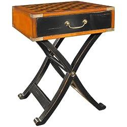 Mesa de juego ProPassione Grandmasters caja, diseño antiguo, preciosos de madera, negro/marrón, latón hardware, con incrustaciones de ajedrez tablero, 1cajón, l 45x W 45x H 66cm