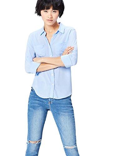 FIND Camisa de Manga Larga con Bolsillos Para Mujer, Azul (Light Blue), 48 (Talla del Fabricante: XXX-Large)