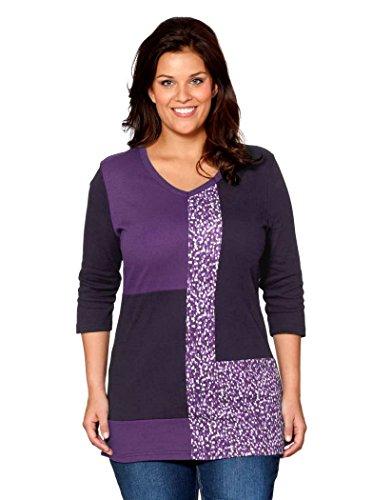 Sheego - T-shirt - Femme Multicolore Lila-Bunt Multicolore - Lila-Bunt