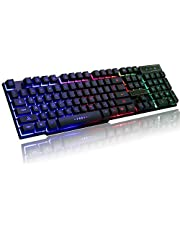 cartup Wired Backlit Floating Gaming Keyboard, Mechanical Feeling Rainbow Illuminated Gaming Keyboard