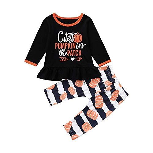 Yter Boy Kleidungs-Set für Kleinkinder, Halloween-Kostüm, süßer Kürbis-Aufdruck, Bluse, Hose, Kleidungsset für Mädchen, Orange, 18-24 ()