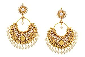 Hyderabad Jewels Gold-Plated Hoop Earring For Women (Gold)