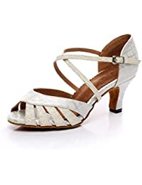 Yingsssq Scarpe da Ballo Stile Latino da Donna con Tacco Alto e Brillantini c2fb99ee03a