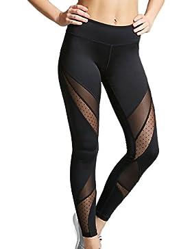 Topsone Verano Mujer Casual Moda Colores Lisos Tul Costura Long Pantalones Leggings Pantalón Sweatpants de Deportiva...