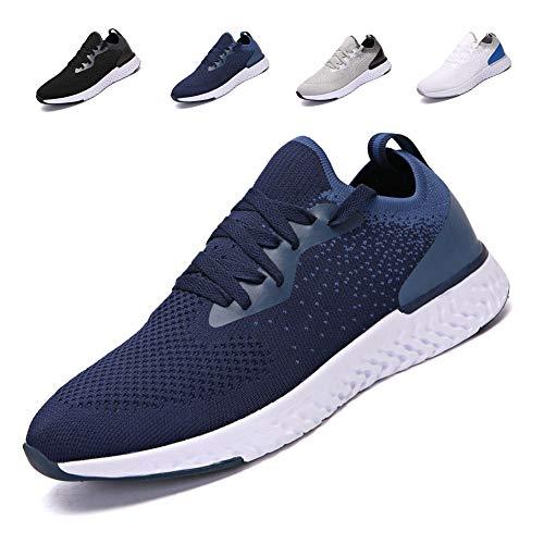 adituob Herren Atmungsaktive Casual Sneakers Mode leichte Turnschuhe Sportliche Tennis-Laufschuhe Blau EU46 - Blau-tennis-schuh