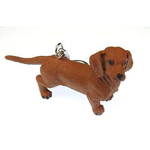 Portachiavi con ciondolo a forma di cane bassotto Miniblings tetto cane in gomma 75 mm marrone