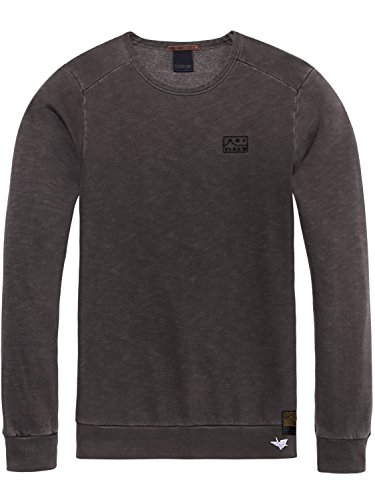 Scotch & Soda Herren Sweatshirt Ams Blauw Garment Dyed Sweat with Chest Embroidery Grau (Antra 95)