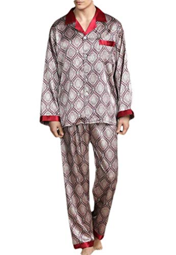 CuteRose Men Printed Plus-Size Pjs Charmeuse Relaxed-Fit Loungewear Set Red XL Charmeuse-print-shorts