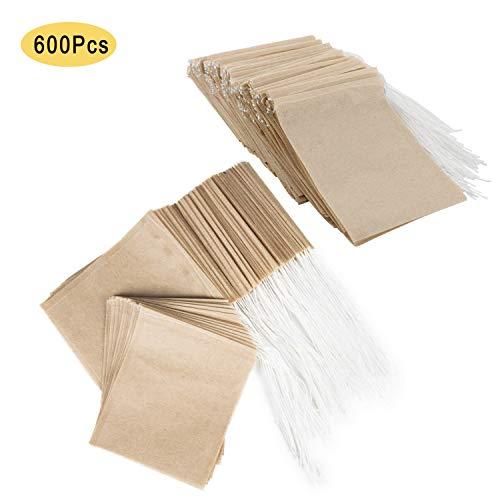 NEPAK 600 Stück Einweg Teebeutel Originalfarbe Filterpapier teebeutel für Losen Tee leer