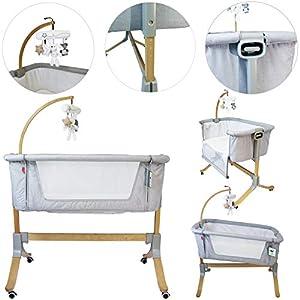 Cosy Cuddler Next2you Bedside Baby Coo Sleeping Crib (Solid Wood) (Grey)   13