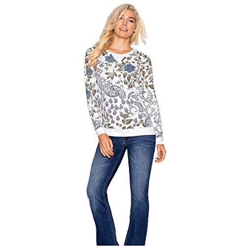 WOCACHI Damen langärmliges weißes druckt Baumwollbeiläufiges Bluse Shirt Tops Weiß