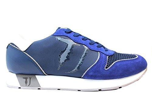 Trussardi Jeans 77s507 Gris, Bleu Et Vert Sneakers Hommes Casual Vert Sport Chaussure