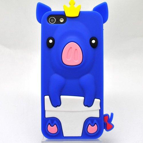 OBiDi - 3D Porcin Coque en Silicone / Housse pour Apple iPhone SE / Apple iPhone 5S / 5 - Bleu Clair Bleu