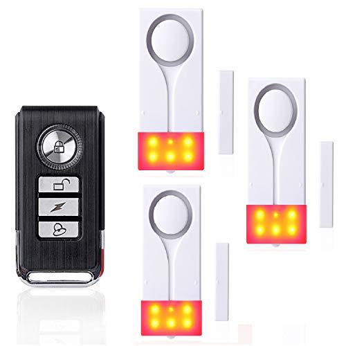 ECTECH Drahtlose Fernbedienung Tür- und Fenstersensoren Ton- und Licht Alarm,1 Fernbedienung + 3 Sensoren -