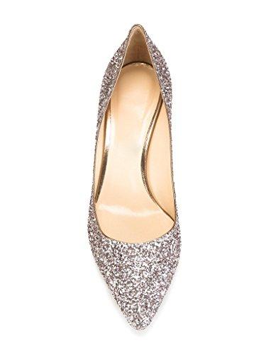 EDEFS- Femmes Escarpins - Kitten Heel - Bout Fermé - Paillettes Chaussures - Soirée Mariage Femme Sequin