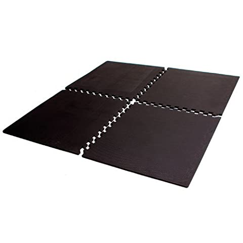 Tunturi High Impact Interlocking Gym Floor Matting - Black, 120 x 180 cm