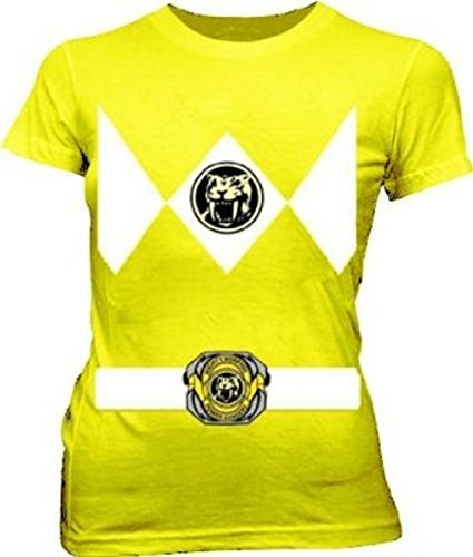 Ranger Kostüm Gelbe - Power Rangers gelb Ranger Kostüm gelb Junior T-Shirt (Junior X-Large)