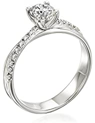 Zertifikat Klassischer 18 Karat (750) Weißgold Damen - Diamant Ring Round 0.63 Karat D-VS1 (Ringgröße 48-63)