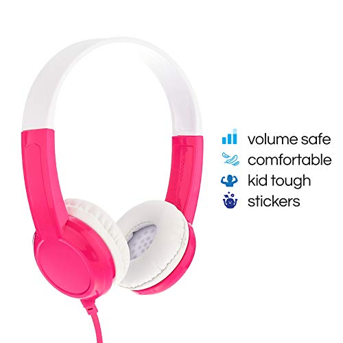 for iPad super durable housing adjustable Explore Foldable Model: Foldable Blue In Line Mic comp Detachable Cable volume limiting lock Kids Headphones by Onanoff Pink built in headphone splitter 2 Pack
