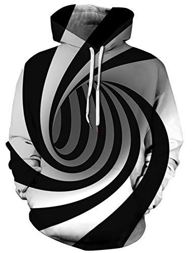Loveternal 3D Kapuzenpullover Print Hypnose Hoodie Pullover Langarmshirts Leichte Sweatshirts mit Taschen L/XL