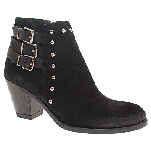 Alpe Block Heel Ankle Boot 3 Buckle Detail 3 Black Suede