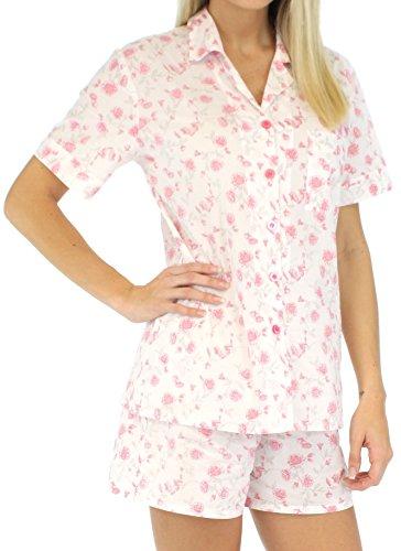 Sleepyheads Ensemble pyjama femme à manches courtes et short coton Roses Roses Transparentes