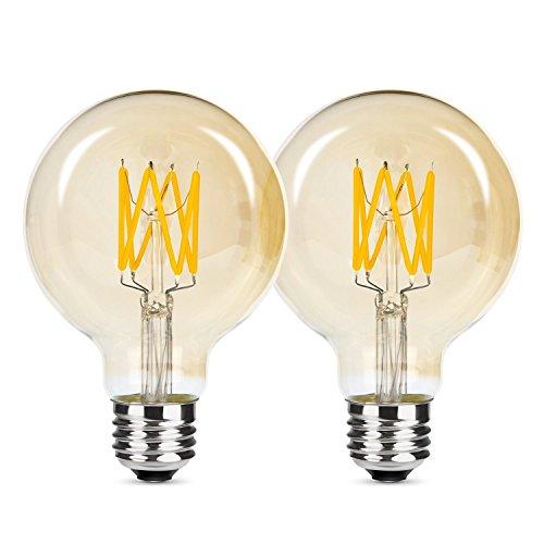 Albrillo dimmbar E27 LED Globe ersetzt 50W, Filament Glühbirne Retro Edison Vintage, warmweiß, φ 80mm