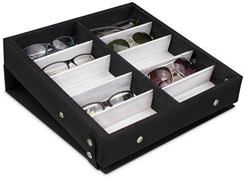 Estuche para guardar 10 gafas - Negro aprox 32 x 32 x 6 cm - Presentación de gafas de sol - Grinscard